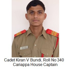 Cariappa house Captain Cadet kiran Bundi