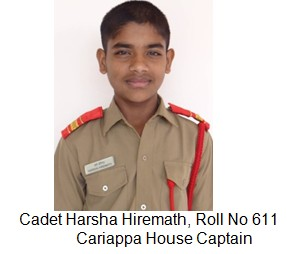 cariappa house captain Cadet harsha hiremath